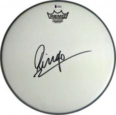 "The Beatles Ringo Starr Signed Autographed 14"" REMO Drum Head Beckett BAS"