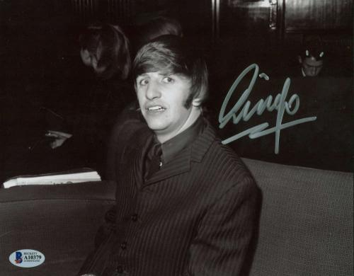 The Beatles Ringo Starr Signed Autographed Sketched 8x10 Photo Beckett BAS