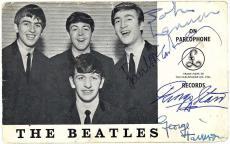 The Beatles Signed Autographed Parlophone Photo Lennon McCartney Beckett BAS