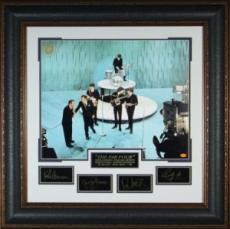The Beatles unsigned Engraved Collection 32x32 Ed Sullivan Show Engraved Signature Series Leather Framed Photo (entertainment)