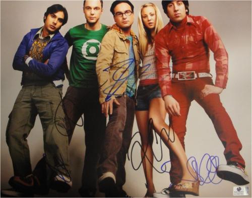The Big Bang Theory Cast Signed 11x14 Photo Cuoco Parsons Galecki JSA Z37748
