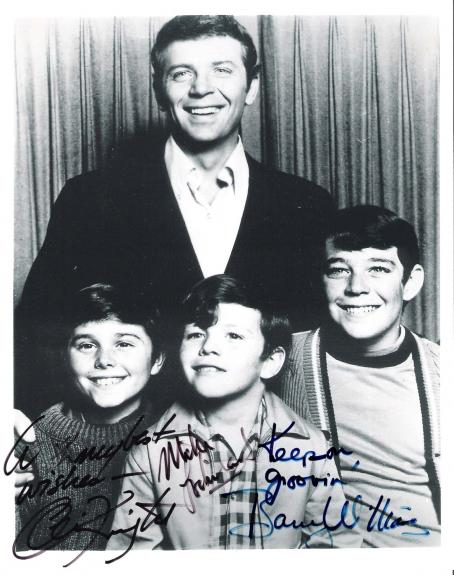 """THE BRADY BUNCH"""" Signed by BARRY WILLIAMS as GREG, CHRISTOPHER KNIGHT as PETER, and MIKE LOOKINLAND as BOBBY - 8x10 B/W Photo"""