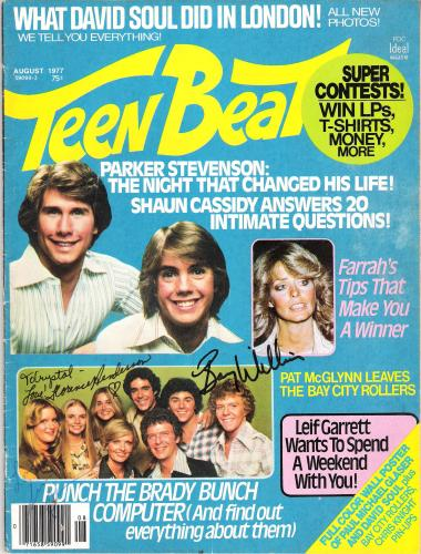 "THE BRADY BUNCH"" Signed by FLORENCE HENDERSON as CAROL BRADY, SUSAN OLSEN as CINDY BRADY, and BARRY WILLIAMS as GREG BRADY - AUGUST 1977 TEEN BEAT MAGAZINE"