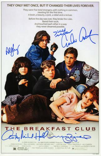 The Breakfast Club Cast Signed The Breakfast Club 11x17 Movie Poster (Estevez, Ringwald, Nelson, Hall, Sheedy)
