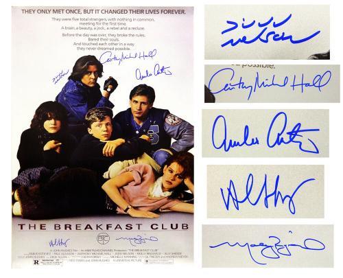 The Breakfast Club Cast Signed The Breakfast Club 24x36 Movie Poster (Estevez, Ringwald, Nelson, Hall, Sheedy)
