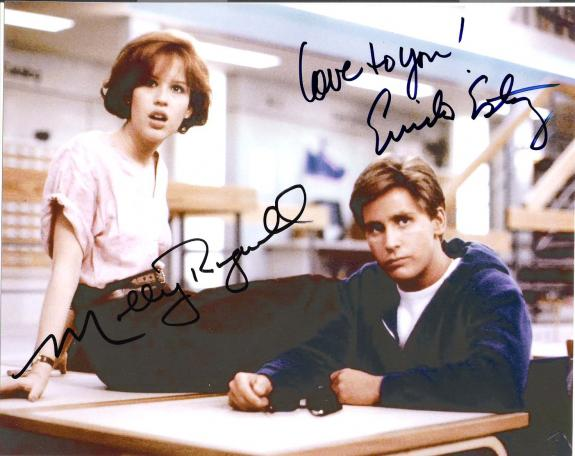 "THE BREAKFAST CLUB"" Signed by EMILIO ESTEVEZAS as ANDREW CLARK and MOLLY RINGWALD as CLAIRE STANDISH 10x8 Color Photo"