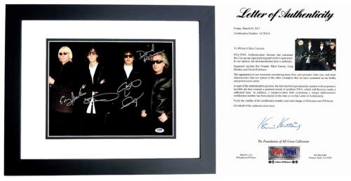 The Cars Group Signed - Autographed Rock Band 11x14 inch Photo by Ric Ocasek, Elliot Easton, Greg Hawkes, and David Robinson - BLACK CUSTOM FRAME - PSA/DNA FULL Letter of Authenticity