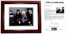 The Cars Signed - Autographed 11x14 inch Photo MAHOGANY CUSTOM FRAME signed by Ric Ocasek, Elliot Easton, Greg Hawkes, and David Robinson - PSA/DNA FULL Letter of Authenticity