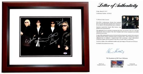 The Cars Group Signed - Autographed Rock Band 11x14 inch Photo by Ric Ocasek, Elliot Easton, Greg Hawkes, and David Robinson - MAHOGANY CUSTOM FRAME - PSA/DNA FULL Letter of Authenticity