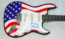 The Clash Mick Jones Autographed Signed USA Flag Guitar & Proof  AFTAL