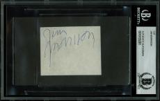 The Doors Jim Morrison Signed 2.25x2.75 Cut Signature BAS Slabbed