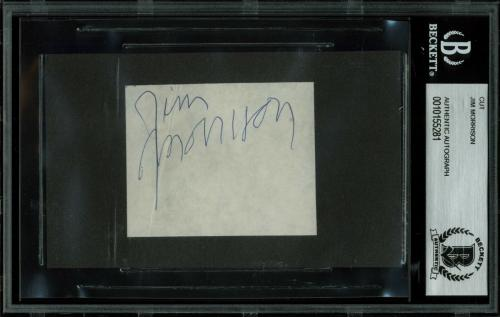 The Doors Jim Morrison Signed 2.25x2.75 Cut Signature BAS Slabbed