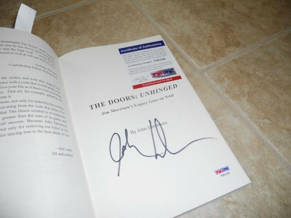 The Doors John Densmore Signed Autographed Unhinged Soft Book PSA Certified #2