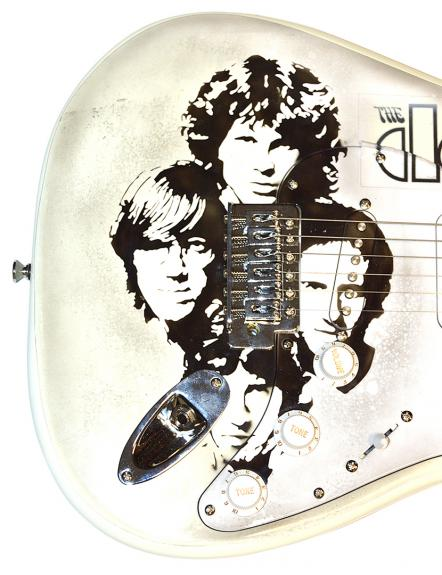 The Doors Krieger Densmore Signed Fender Airbrushed Guitar UACC RD COA