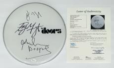 The Doors X3 Robby Krieger John Densmore Ray Manzarek Signed Drumhead Jsa Y57045