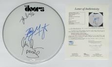 The Doors X3 Robby Krieger John Densmore Ray Manzarek Signed Drumhead Jsa Y61573