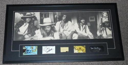 The Eagles Band Group Signed Framed 21x38 Vintage Poster Display JSA