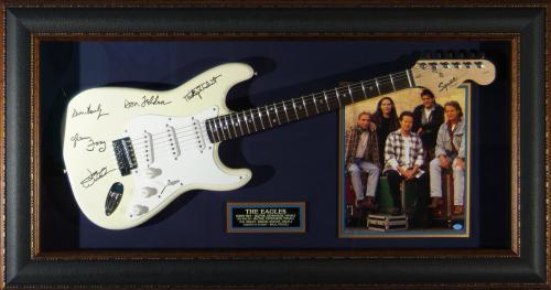The Eagles - Laser Engraved Signature Framed Guitar
