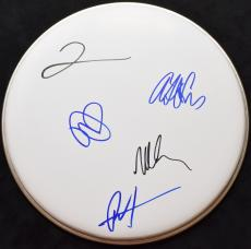 The Foo Fighters Group Signed - Autographed Drumhead by Dave Grohl, Nate Mendel, Taylor Hawkins, Pat Smear, and Chris Shiflett Drum head - Complete Band RARE - Guaranteed to pass PSA or JSA