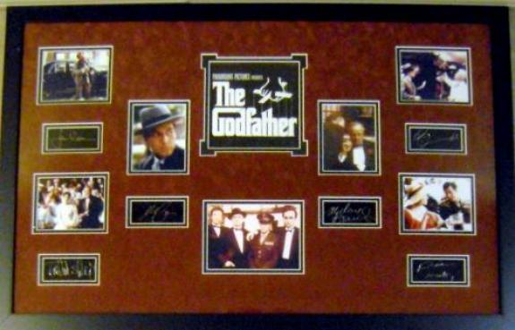 The Godfather framed matted movie masterpiece with laser signatures Al Pacino Marlon Brando James Caan micro photos 23x34