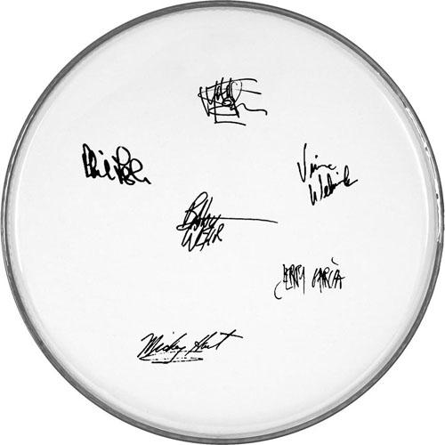 The Grateful Dead Facsimile Signature   Clear Drumhead Jerry Garcia Bob Weir+