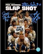 The Hanson Brothers Signed Charleston Chiefs Slap Shot Movie Poster 8x10 Photo (AJ Sports Auth)