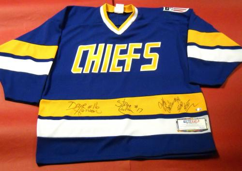 The Hanson Brothers Autographed Charlestown Chiefs Jersey Tristar Slap Shot