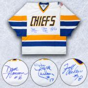 The Hanson Brothers Charleston Chiefs Triple Signed Slap Shot Hockey Jersey
