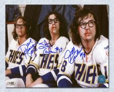 The Hanson Brothers Autographed Slap Shot Movie Post Fight Bloody 14x20 Photo