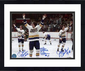 The Hanson Brothers Autographed Slap Shot Celebration Wave 8x10 Photo