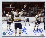 The Hanson Brothers Autographed Slap Shot Celebration Wave 8x10 Photo