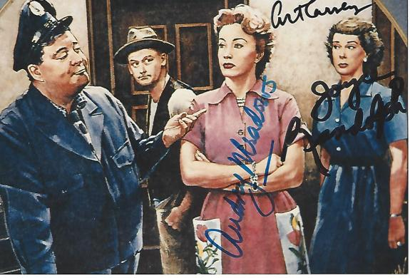 """THE HONEYMOONERS"""" Signed by ART CARNEY, JOYCE RUDOLPH, and AUDREY MEADOWS (ART Passed Away 2003 and AUDREY Passed Away 1996) 6x4 Color Photo"""