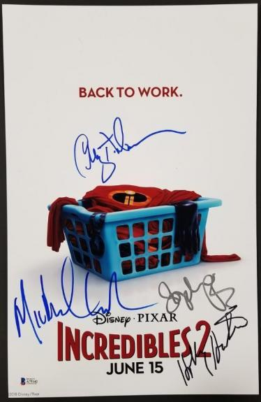 THE INCREDIBLES 2 (4) Signed 11x17 Photo Nelson Hunter Giacchino Beckett BAS COA