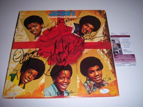 The Jackson Five Jermaine,tito,marlon,jackie Only Jsa/coa Signed Lp Record Album