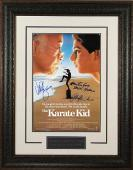 The Karate Kid signed 11x17 Movie Poster Leather Framed w/ Macchio, Zabka & Kove (entertainment/movie memorabilia)