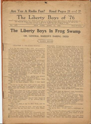 The Liberty Boys of 76 #1215 1924 Pulp Magazine Authentic