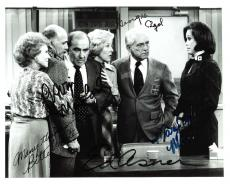 "THE MARY TYLER MOORE SHOW"" Signed by GEORGIA ENGEL, BETTY WHITE, GAVIN MACLEOD, ED ASNER, and MARY TYLER MOORE 10x8 B/W Photo"
