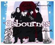 "THE OSBOURNES"" Signed by OZZY OSBOURNE, SHARON OSBOURNE, KELLY OSBOURNE, and JACK OSBOURNE - 10x8 Color Photo"