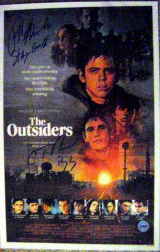 The Outsiders autographed by Ralph Macchio C Thomas Howell movie poster size 11x17