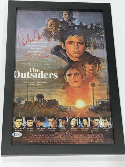 The Outsiders Signed Framed 11x17 Poster Howell Estevez Ralph Macchio Bas Coa 1
