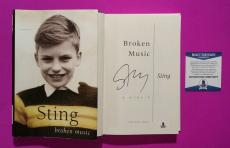 The Police - Sting Signed Hardcover Book Broken Music With Bas Coa & Photo Proof