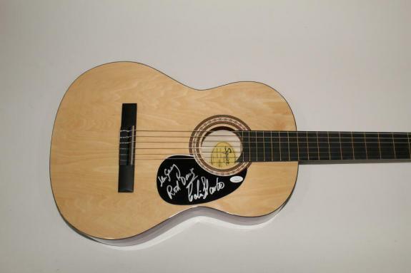 The Quarrymen Signed Autograph Fender Acoustic Guitar Rod Len Colin Beatles Jsa
