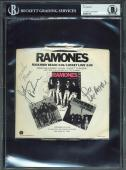 The Ramones (4) Johnny, Marky, Joey & Dee Dee Signed 45 Album Cover BAS Slabbed