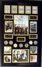 The Rat Pack Laser Signatures with Original Las Vegas Casino Chips and Playing Cards framed and matted 22x34  Frank Sinatra, Dean Martin, Sammy Davis