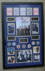 The Rat Pack Laser Signatures with Original Las Vegas Casino Chips & Playing Cards Matted & Framed 22x34  Frank Sinatra, Dean Martin, Sammy Davis Blue