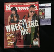 The Rock Dwayne Johnson & Chyna Signed Newsweek Wwe Magazine Jsa Authenticated
