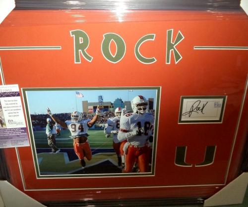 The Rock Dwayne Johnson Miami Um Signed Autograph Double Matted & Framed Jsa Coa