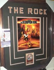 The Rock Dwayne Johnson Scorpion King Signed Autograph Matted & Framed Jsa Coa B