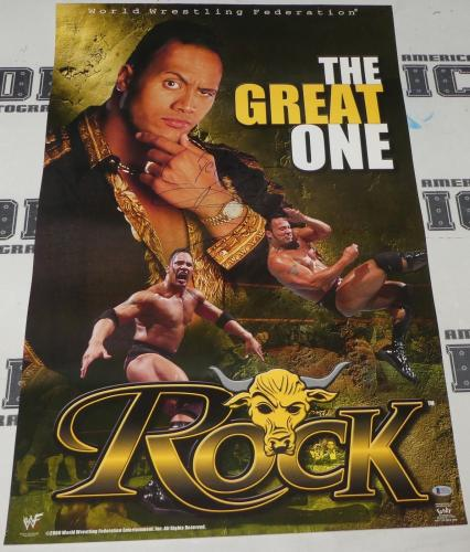 The Rock Dwayne Johnson Signed WWE 22x34 Poster BAS Beckett COA Great Autograph