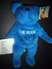 The Rock Dwayne Johnson Wrestling Legend Autograph Signed Beanie Bear Coa Proof